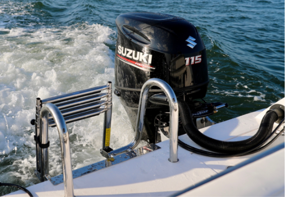 Boarding Ladder - With a dual-hull boat, you have more room to easily board your boat with the standard stainless steel multi-step ladder. It stows away when not in use for a clean obstruction-free rear deck.