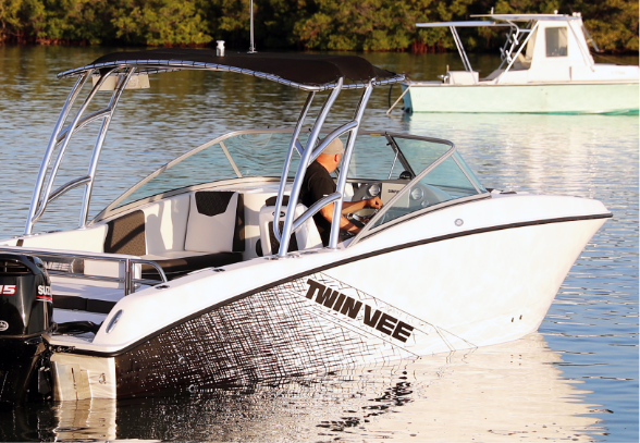 Hull Color Options - Twin Vee offers four different color hull choices, go light, go white or simply go on your Twin Vee and experience a whole new way of boating. The 240 Dual Console offers a unique graphics package to give your boat an added layer of customization.