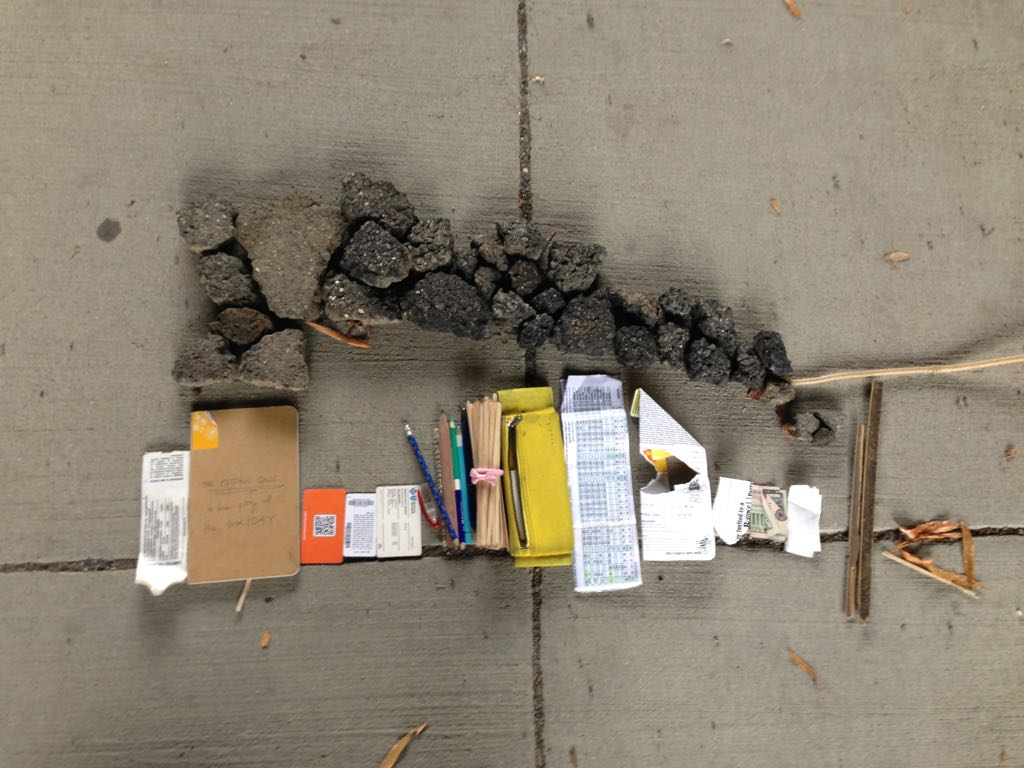 Today's ART brought to you by things in my handbag, rubble and sticks.
