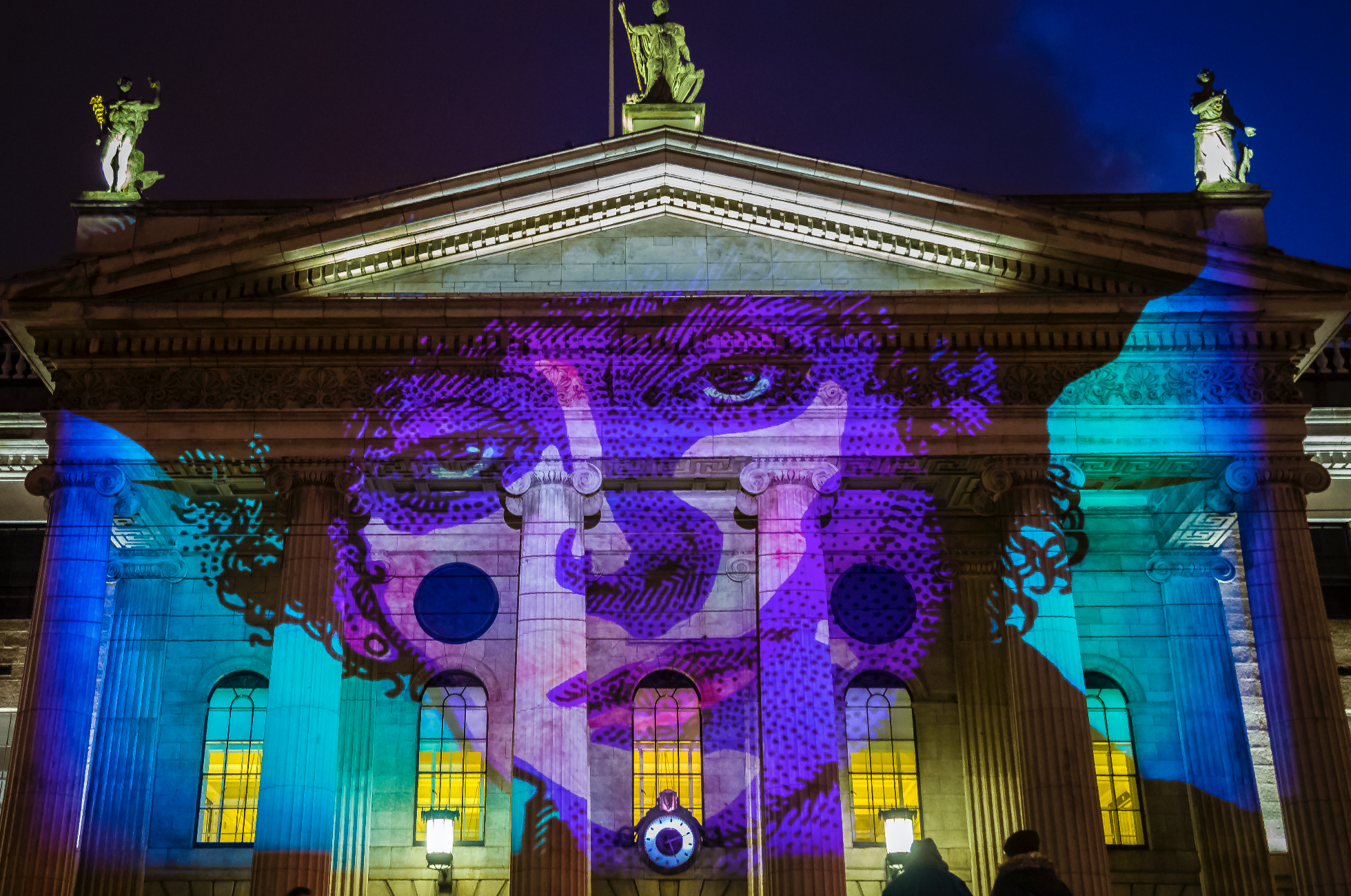 Suffragette and trade unionist Countess Markievicz, art by Jim Fitzpatrick, illuminating the GPO for the 2018 Herstory Light Festival in celebration of the centenary of the Irish Women's Suffrage.