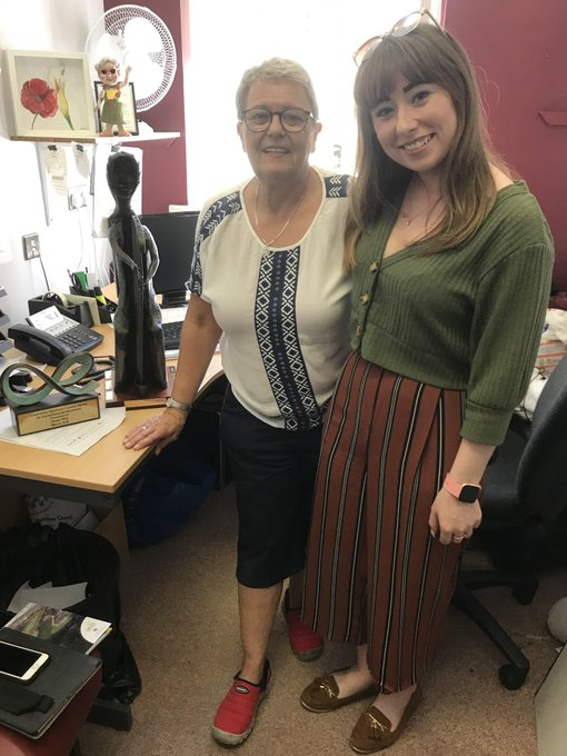 Eileen, with Katelyn (Herstory), in her office in the Shankill Women's Centre, 2019
