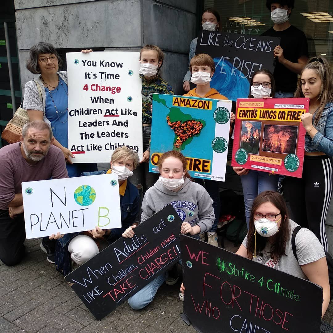 'Our lungs are on fire.' FFF Limerick protesting the Amazon Rainforest fire.