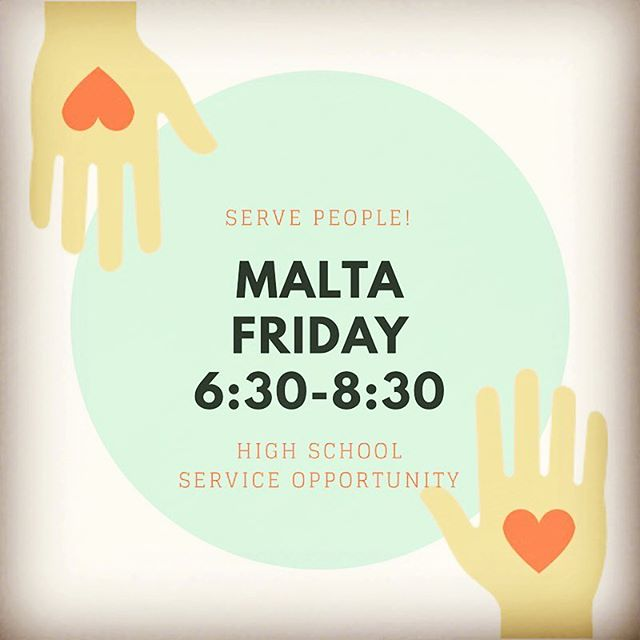 Malta tonight! Help serve and love on people! 6:30 at Grace House #gbcym #savedpeopleservepeople