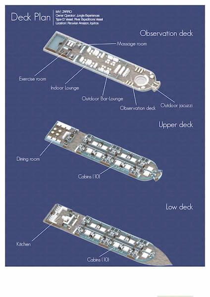 Zafiro Amazon Cruise - Deck Plan
