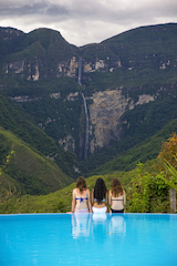 Gocta Waterfall set in cloud forest.