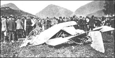 The remains of Jorge Chavez's monoplane, following the crash in Domodossola.