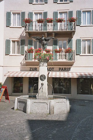 The monument to Jorge Chavez in Brig, Switzerland.