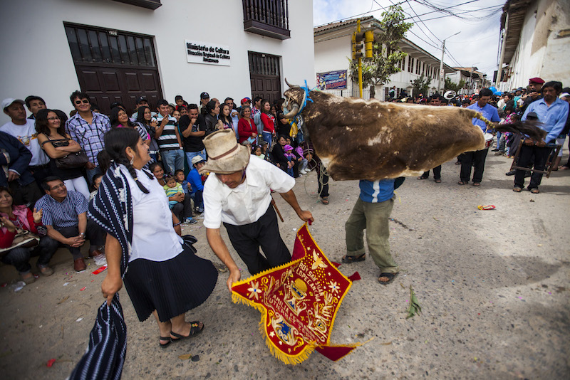 Colonial influences in evidence at Raymi Llacta, with this enactment of a bull fight.
