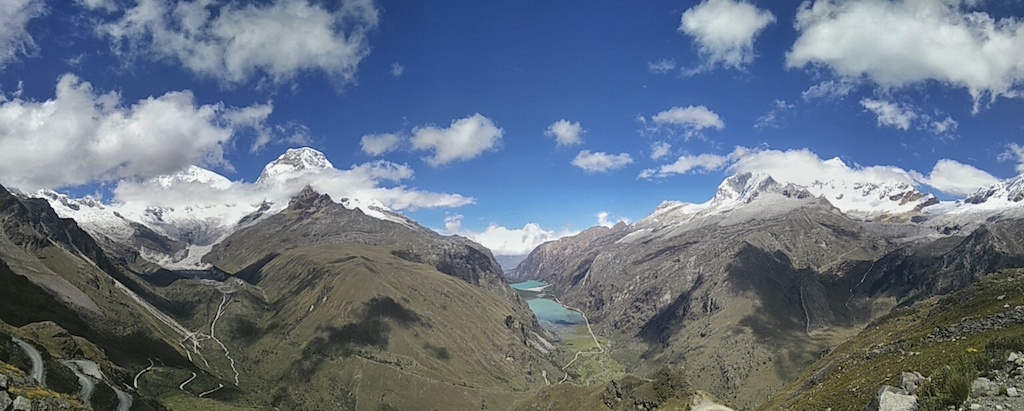 A panoramic view from Punta Union pass, on the Santa Cruz trek.
