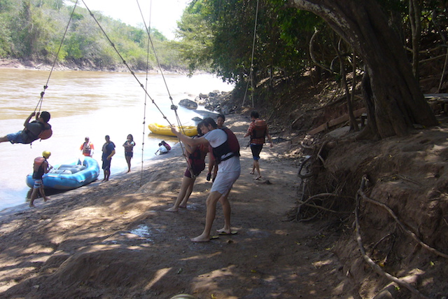 Tarapoto Adventure Excursions - River Beach with 'Tarzan Rope'.JPG