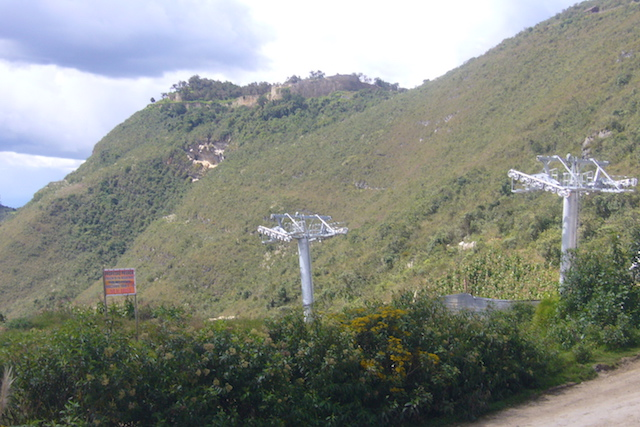 Kuelap Cable Car & Ruins from Entrance.JPG