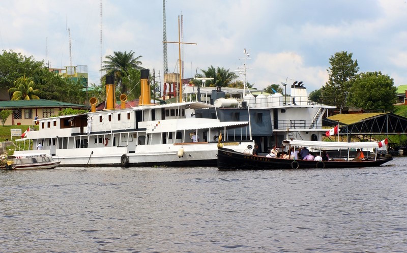 Visitors arriving at B.A.P America on board the historic launch,  Amazonina .