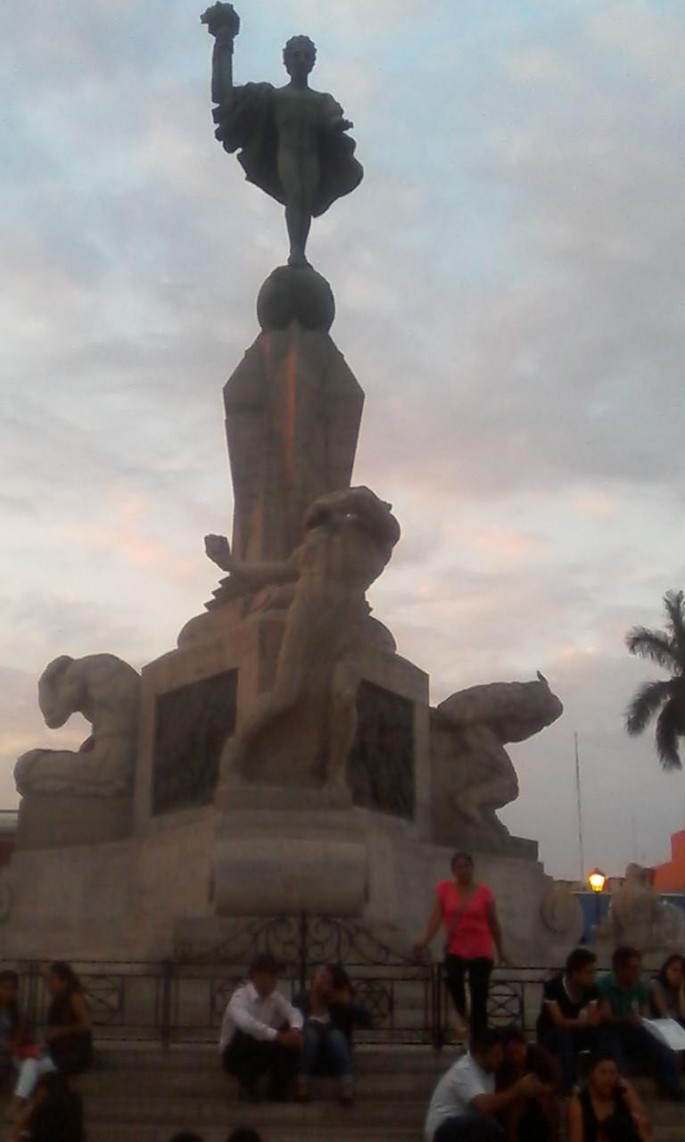 La Libertad  statue in the Plaza de Armas.