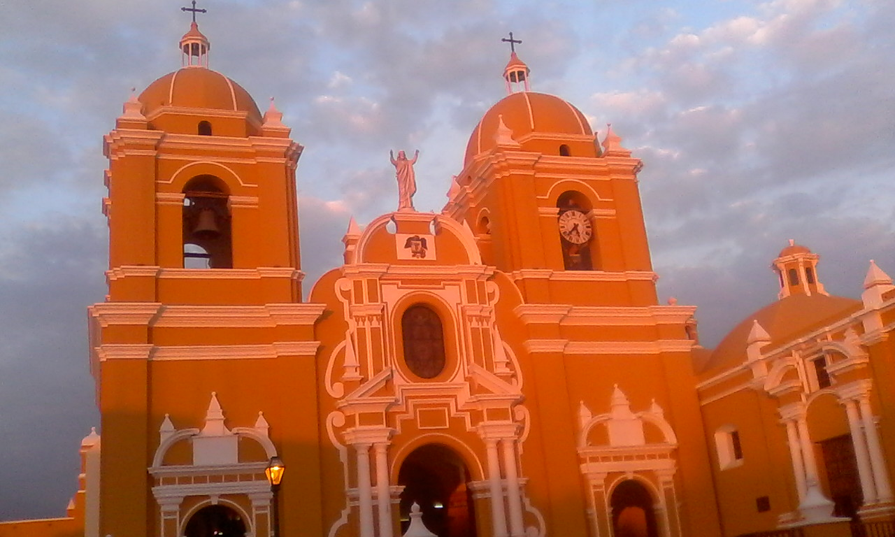 Trujillo Cathedral at sunset.