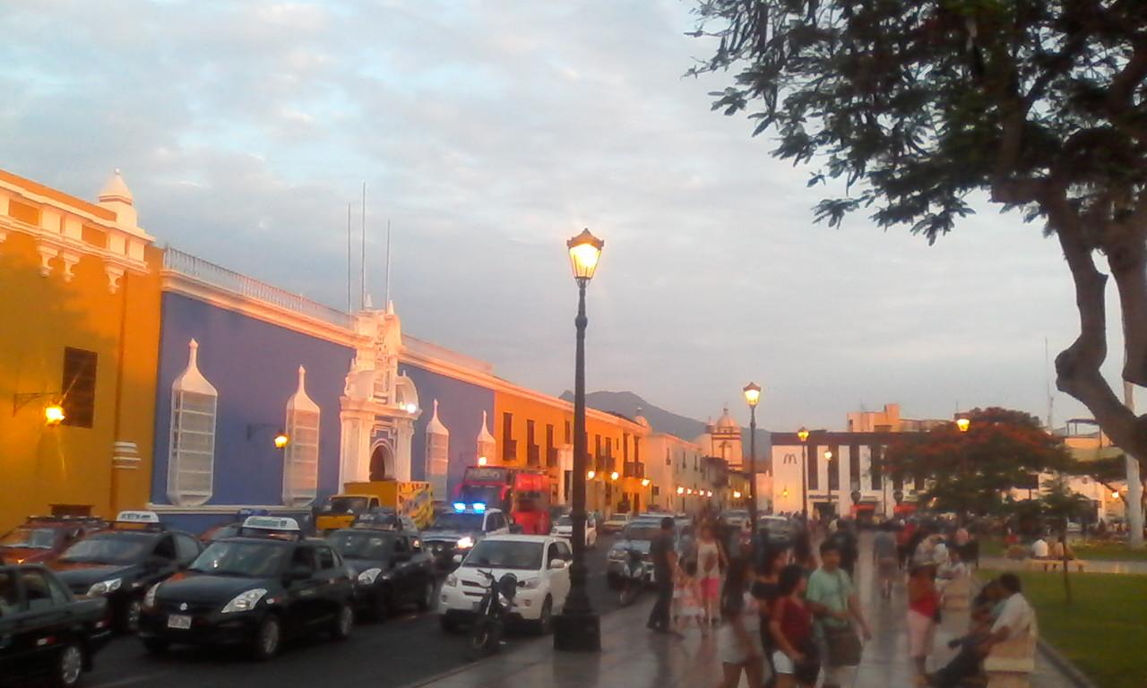The blue building is Casa de Urquiaga.