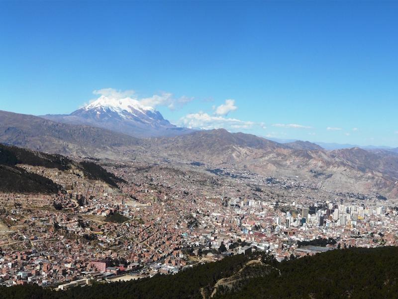 La Paz with Mount Illumani in the background.