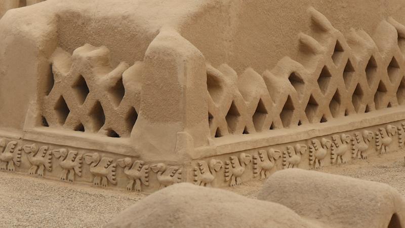 Chiclayo - Trujillo - Chan Chan Sea Bird & Fish Net Carvings.JPG
