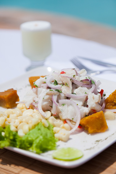 One of the great pleasures of a visit to Peru - a fresh ceviche washed down with a  Pisco sour .