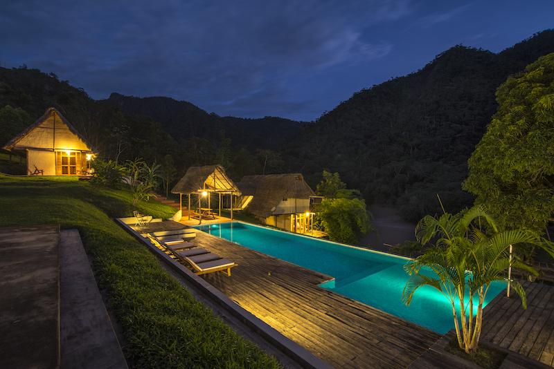 The pool at Pumarinri Lodge.