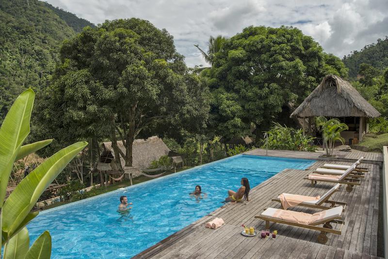 The inviting pool at Pumarinri Lodge.