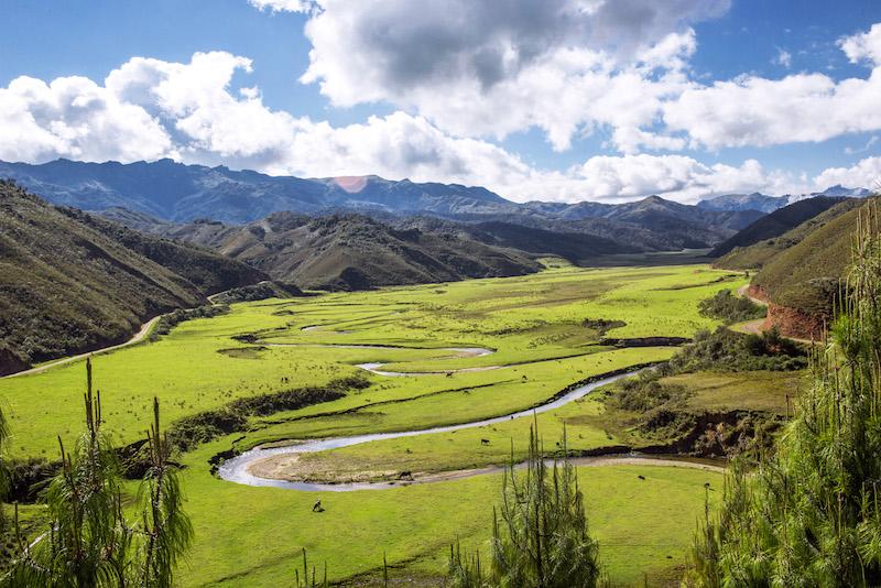 Meandering river in Huaylla Belen valley.