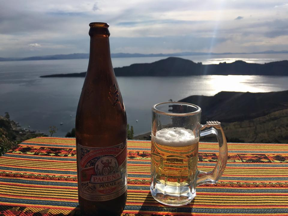 A well-earned beer with splendid views of Lake Titicaca.