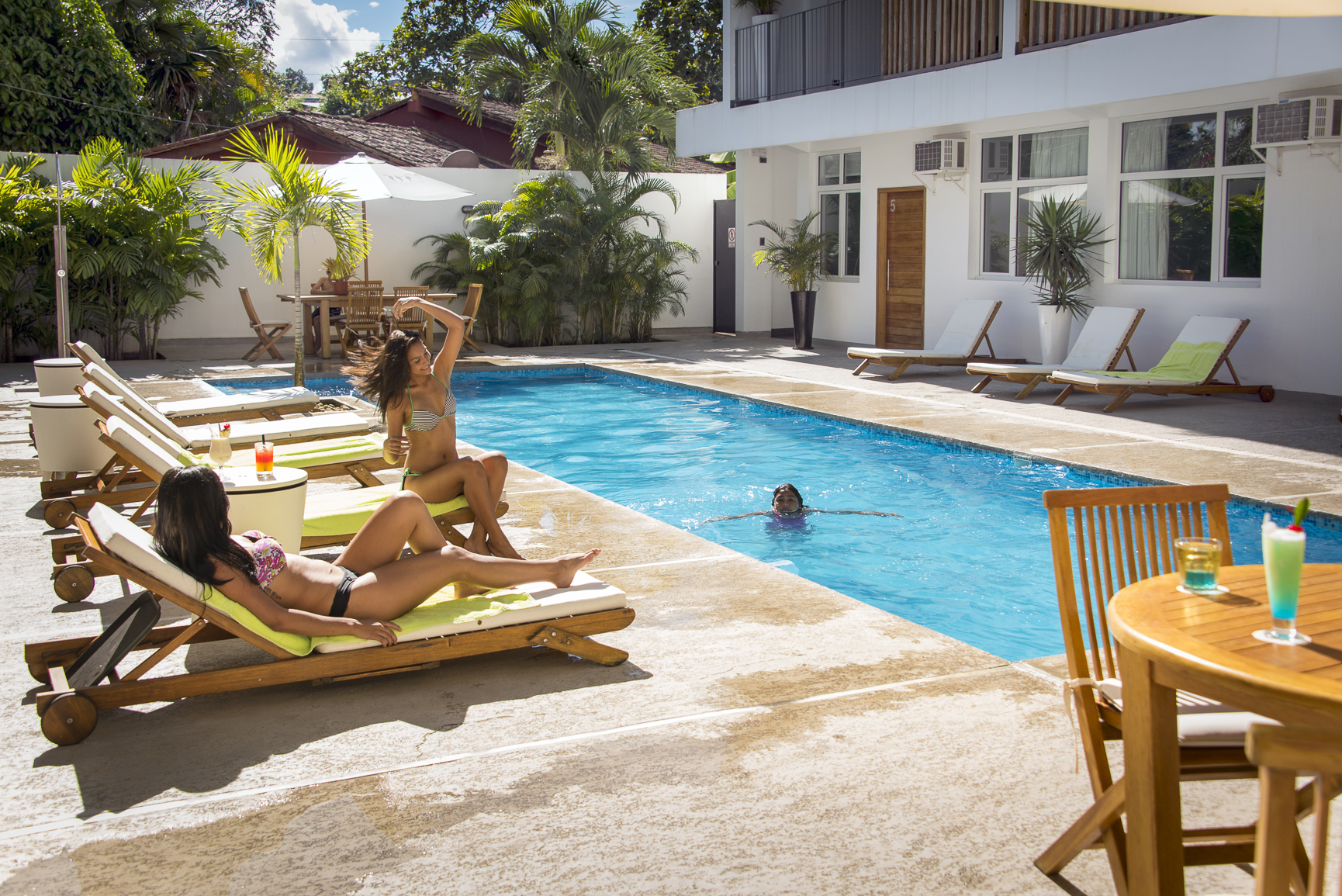 Enjoying the pool at Tucan Suites.