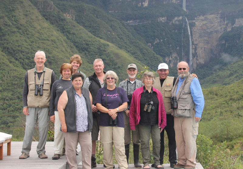 Birders & guides in front of Gocta Falls.
