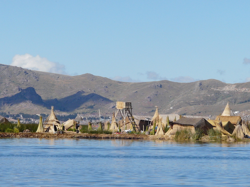 Totora Reed - both living and harvested - can be clearly seen on this floating Uros Island.