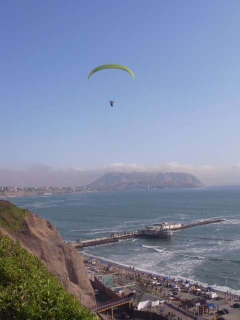 Paragliding over the beach at Miraflores.