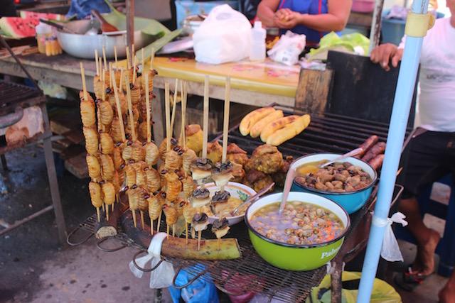 Grilled  suri  on sale at Bellavista Market, Iquitos.