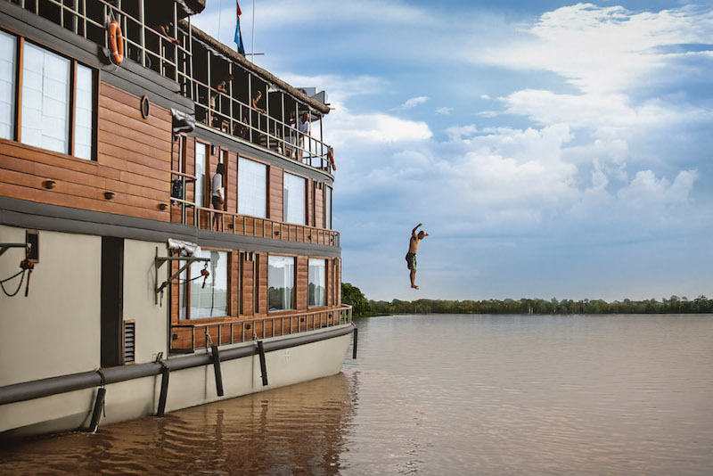 Jumping into the Amazon from  Delfin II .