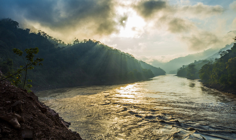 Huallaga River - a tributary of the Amazon River - that flows past  Pumarinri Lodge .