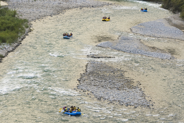 Small flotilla on the Cañete River near Lunahuana.