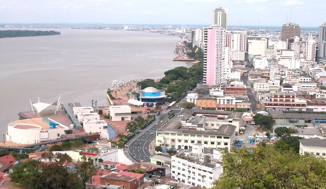 Guayaquil sits on the banks of the Guayas River.