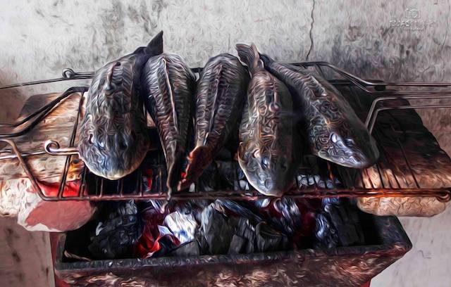 Amazonian fish being barbecued.