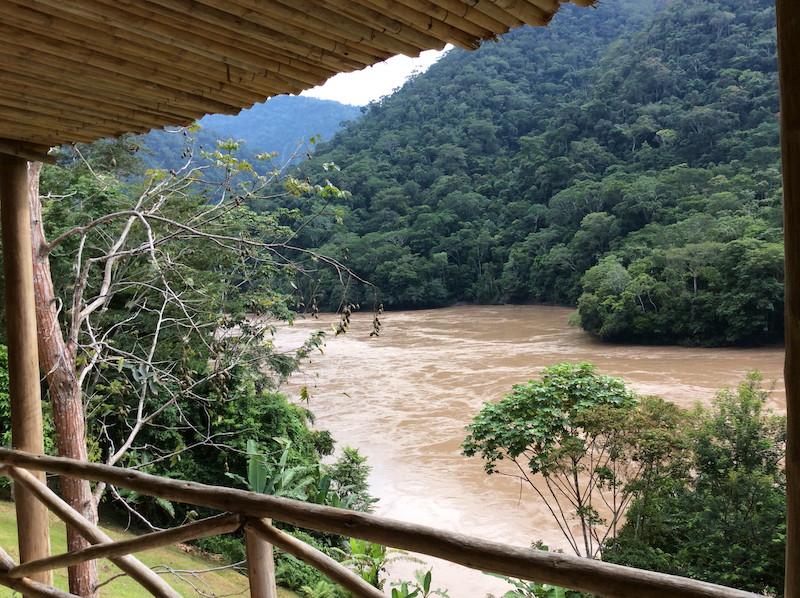 View of the Rio Huallaga from bedroom at Pumarinri Lodge.