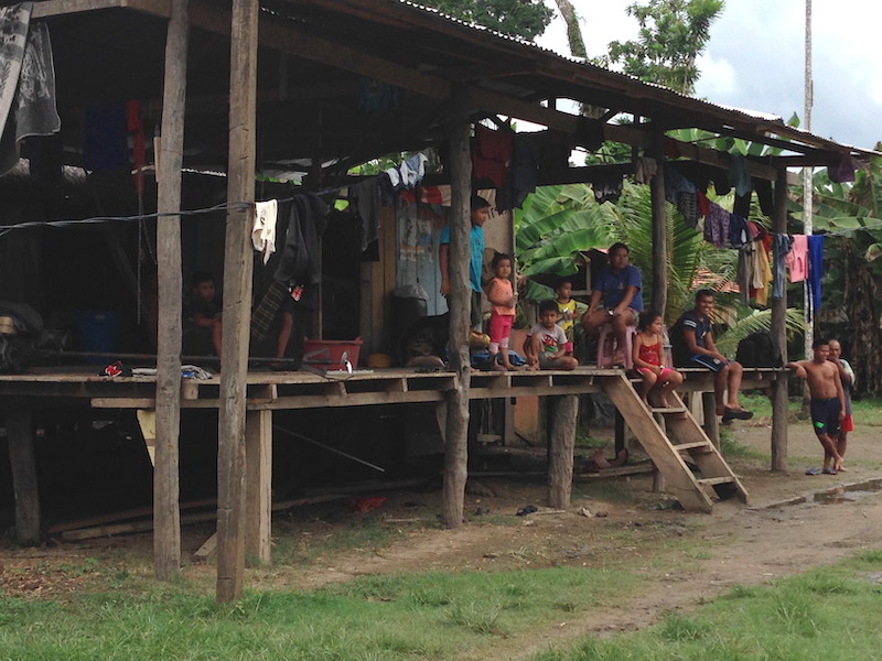 A family home in a village beside the Amazon River.