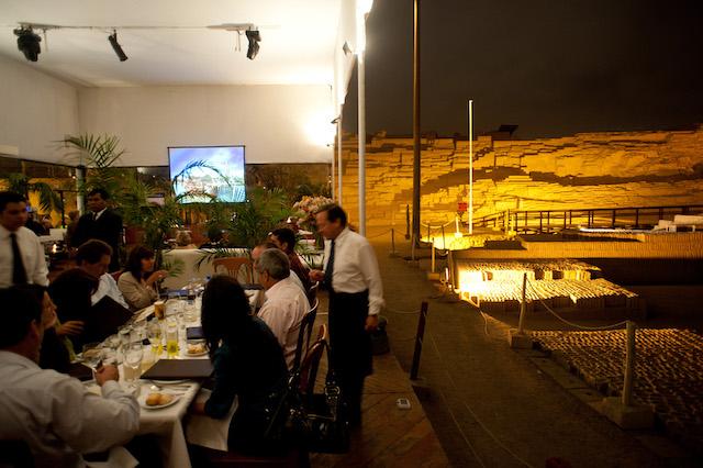 Huaca Pucllana Restaurant  overlooking a pre-Inca pyramid.