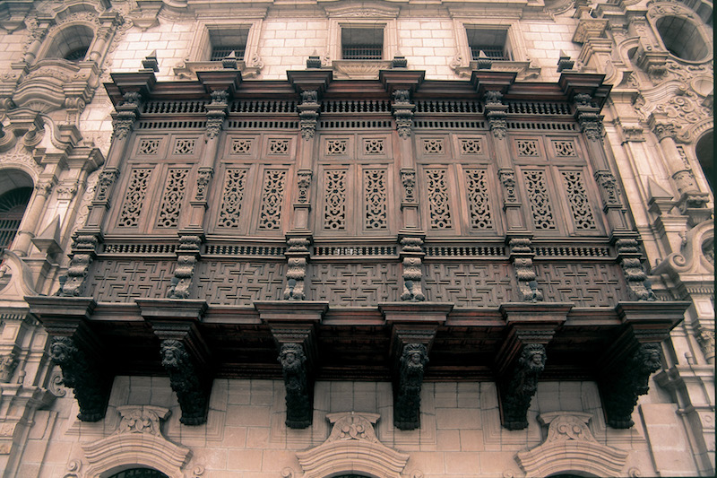 A typical Colonial balcony in Lima's historic centre.
