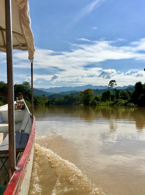 Taking a motorboat on the Huallaga River, near Pumarinri Lodge.