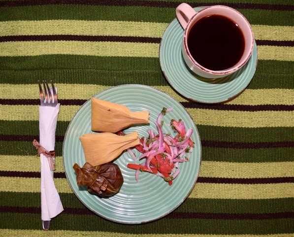 A simple Amazonian breakfast, accompanied by  locally-produced coffee .