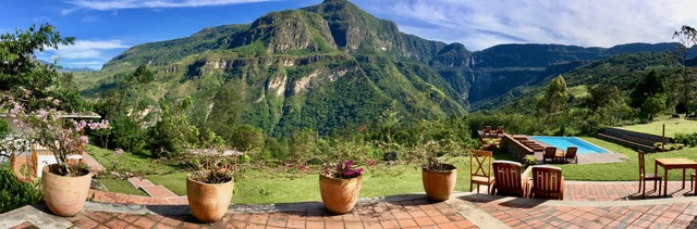 Panoramic view from Gocta Andes Lodge terrace.