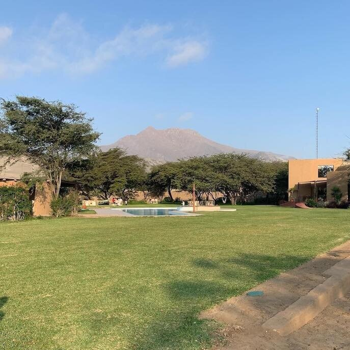 Moche Sanctuary Lodge grounds in the shadow of  Cerro Blanco .