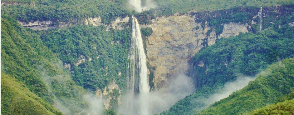 Aerial view of Gocta Waterfall's first drop during rainy season.