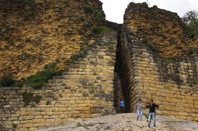 The impressive citadel walls of Kuelap, with narrow, easily-defendable entrance.