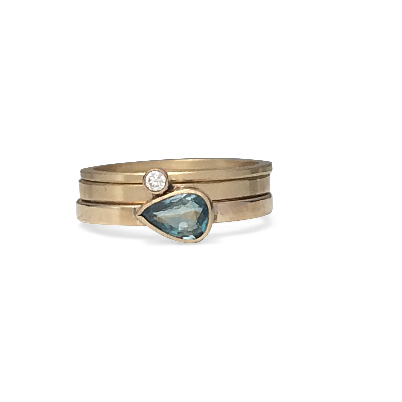 Ario gold gemstone diamond ring