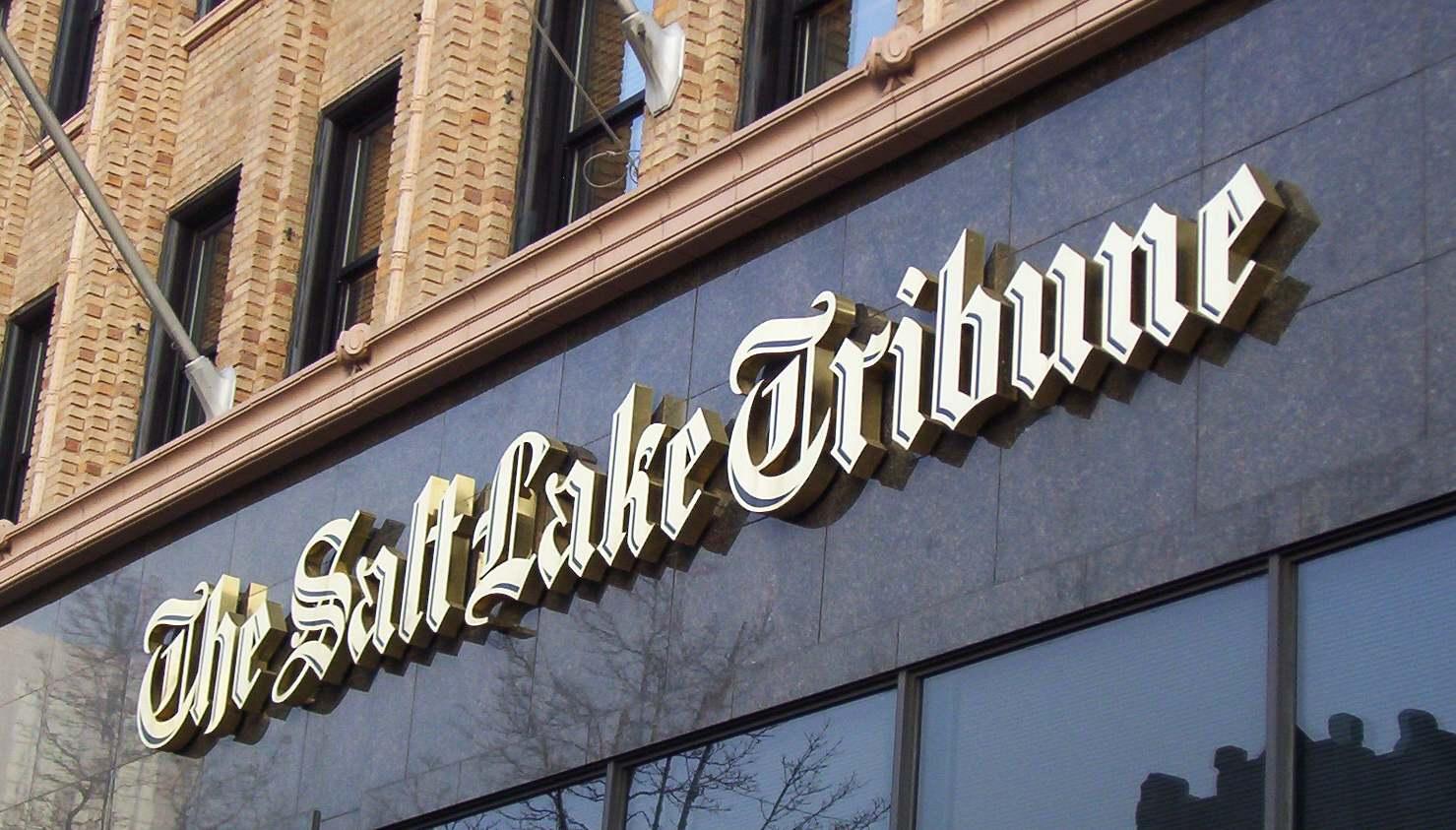 The Salt Lake Tribune marquee on the Ezra Thompson Building.