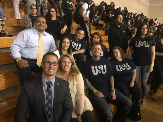 Members from the Urban Scholars Union at San Diego City College joined by the V.P. of Student Services, Dean of Student Equity, and First Year Services Coordinator.