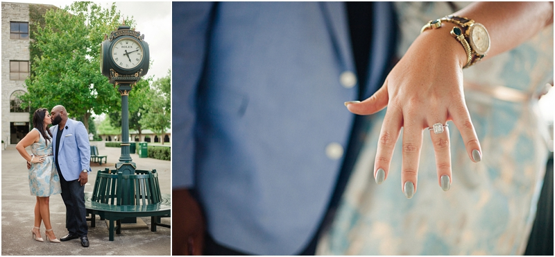 Their proposal spot was Keeneland, one of their favorite places.Check out that bling on her hand.    What a beautiful engagement ring!